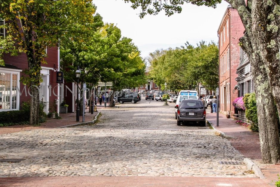 Beautiful view down one of Nantuckets many cobblestone streets