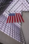 American flag hangs proudly in the John F. Kennedy Presidential Library and Museum